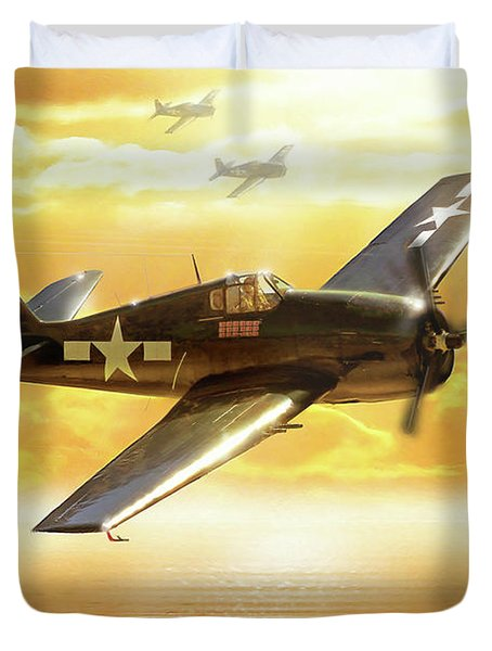 F-6f Hellcat Pacific Sunrise Duvet Cover