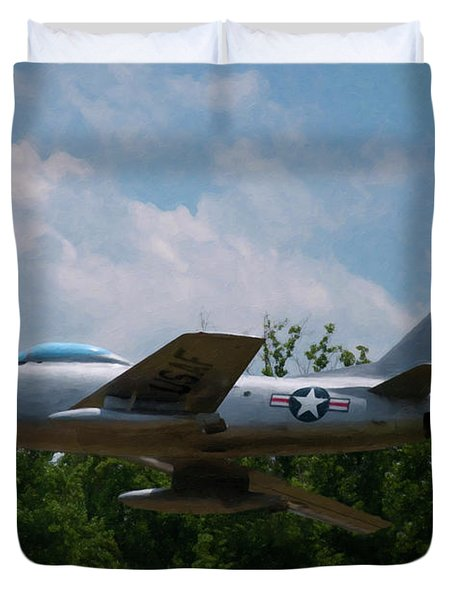 Duvet Cover featuring the digital art F-86l Sabre by Chris Flees