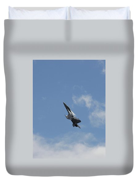 Duvet Cover featuring the photograph F/a-18 Fighter Fast Climb by Aaron Berg