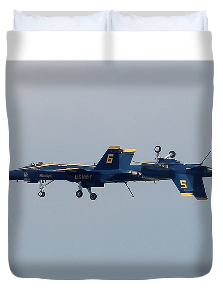 Duvet Cover featuring the photograph F/a 18 Hornet In Tandem by Robert Banach