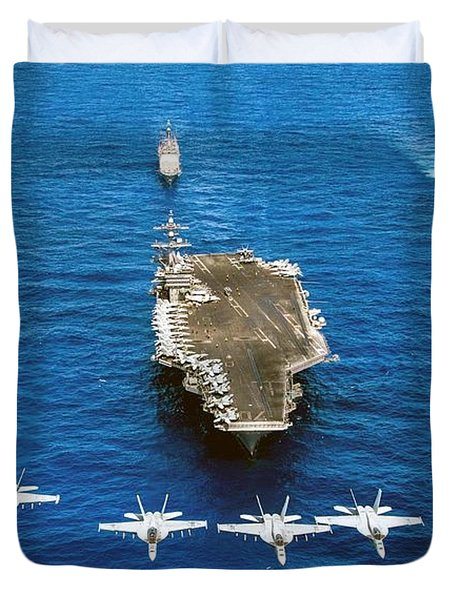 F A-18 Hornets And Super Hornets Fly Over Uss Carl Vinson And Ships. Duvet Cover