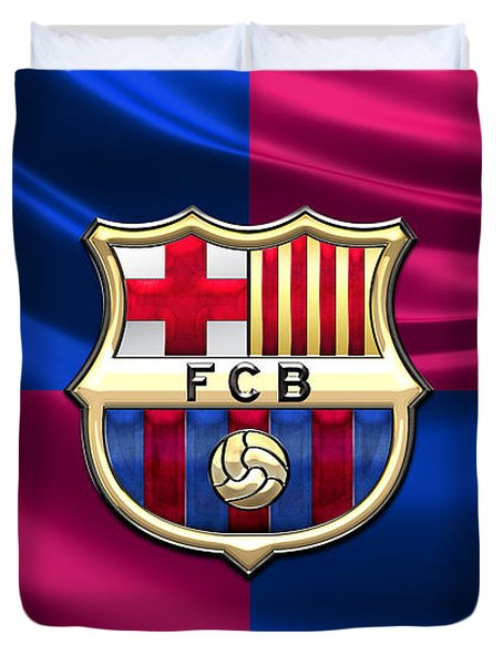 F. C. Barcelona - 3d Badge Over Flag Duvet Cover
