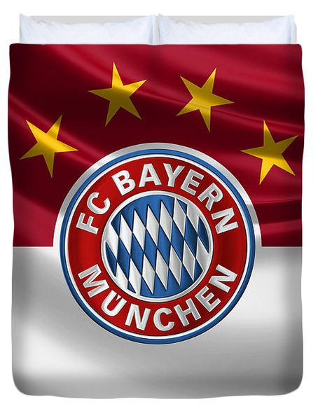 F C Bayern Munich - 3 D Badge Over Flag Duvet Cover