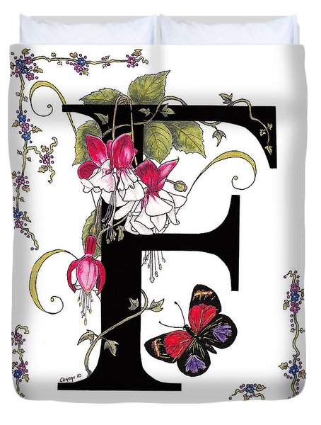 F Is For Fuschias And A Figure Eight Butterfly Duvet Cover by Stanza Widen