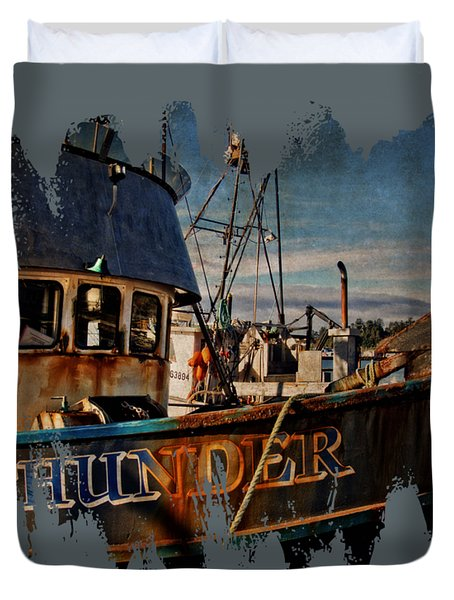 Duvet Cover featuring the photograph F/v Thunder by Thom Zehrfeld