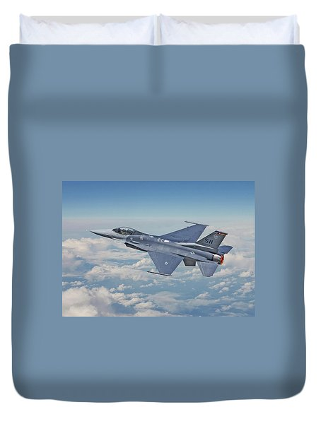 Duvet Cover featuring the digital art F16 - Fighting Falcon by Pat Speirs