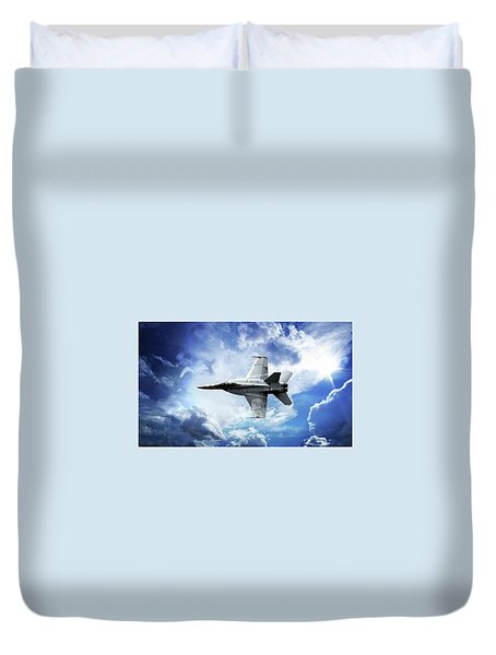 Duvet Cover featuring the photograph F18 Fighter Jet by Aaron Berg