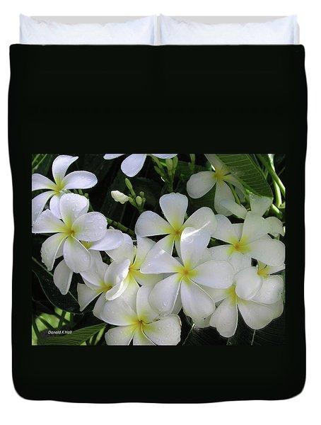 F2 Plumeria Frangipani Flowers Hawaii Duvet Cover by Donald k Hall