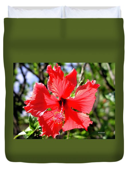F20 Red Hibiscus Duvet Cover by Donald k Hall