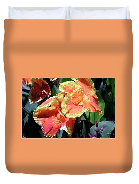 F24 Cannas Flower Duvet Cover by Donald k Hall