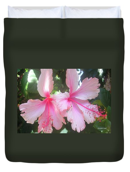 F4 Hibiscus Flowers Hawaii Duvet Cover by Donald k Hall