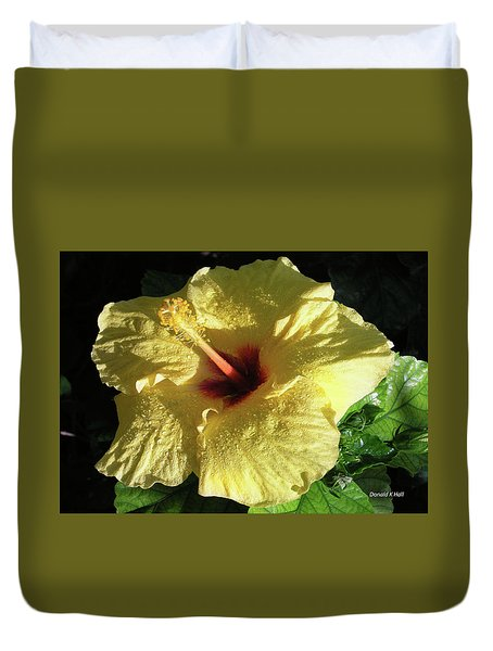 F9 Yellow Hibiscus Duvet Cover by Donald k Hall