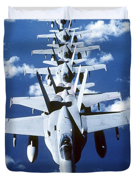 Fa-18c Hornet Aircraft Fly In Formation Duvet Cover by Stocktrek Images