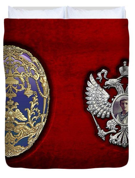 Faberge Tsarevich Egg With Surprise Duvet Cover