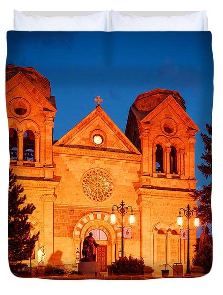 Facade Of Cathedral Basilica Of Saint Francis Of Assisi At Twilight- Santa Fe New Mexico Duvet Cover