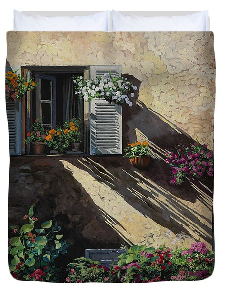 Facciata In Ombra Duvet Cover by Guido Borelli