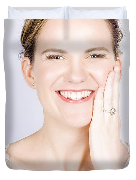Face Of A Smiling Bride With Perfect Makeup Duvet Cover by Jorgo Photography - Wall Art Gallery