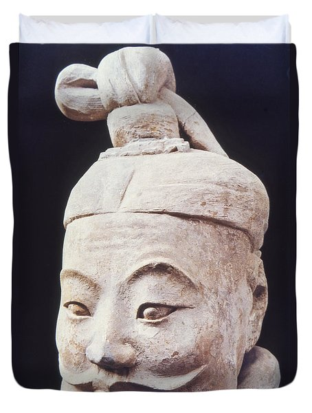Duvet Cover featuring the photograph Face Of A Terracotta Warrior by Heiko Koehrer-Wagner