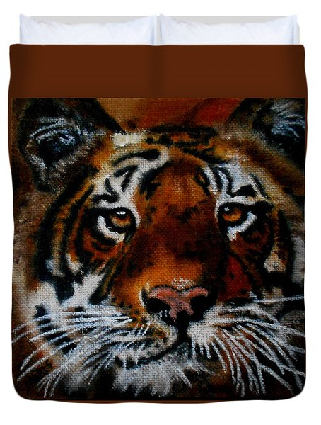 Face Of A Tiger Duvet Cover by Maris Sherwood