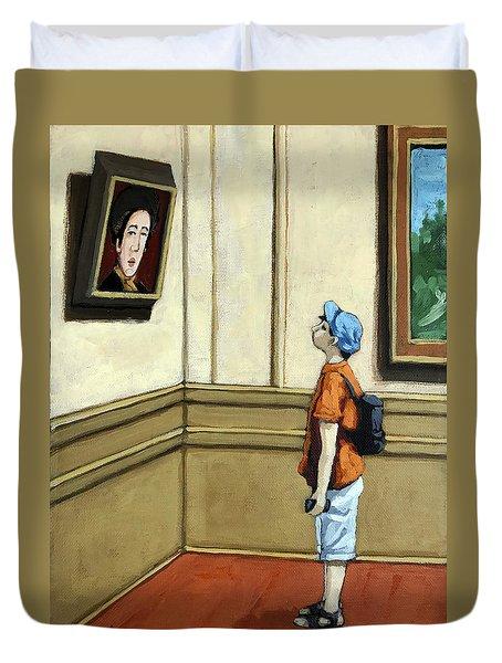 Face To Face - Boy Viewing Art Duvet Cover