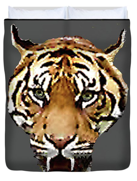 Duvet Cover featuring the photograph Face-to-face With A Bengal Tiger  by Merton Allen