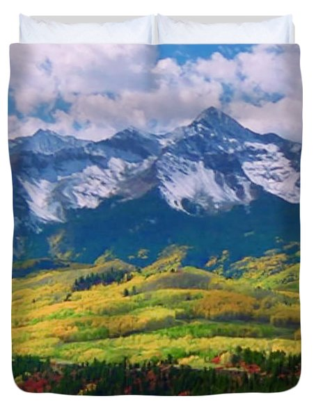 Facinating American Landscape Flowers Greens Snow Mountain Clouded Blue Sky  Duvet Cover by Navin Joshi