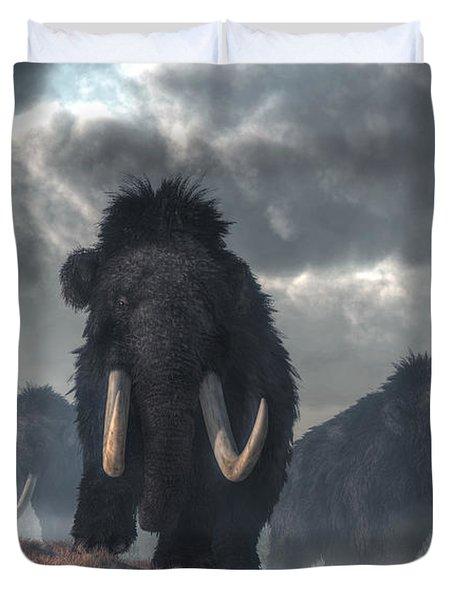 Facing The Mammoths Duvet Cover by Daniel Eskridge