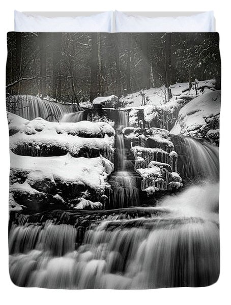 Duvet Cover featuring the photograph Factory Falls In Winter by Chris Lord