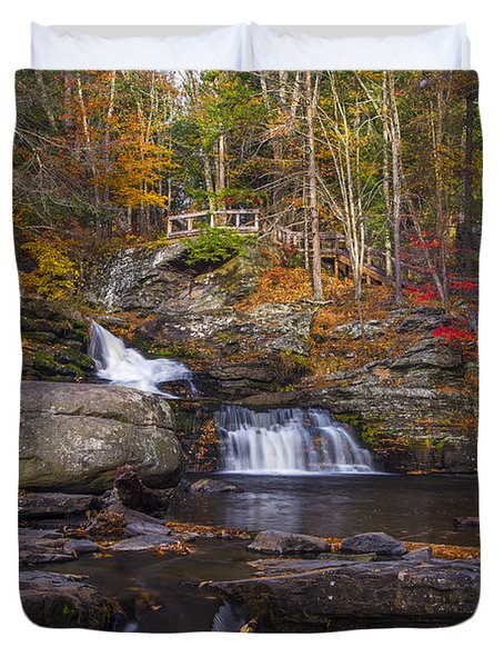 Duvet Cover featuring the photograph Factory Falls by Mark Papke