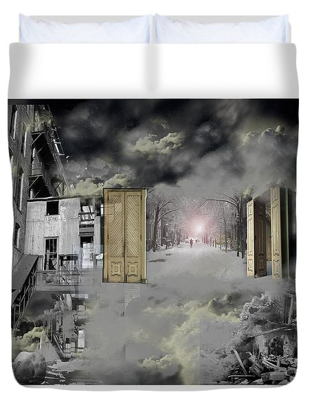 Duvet Cover featuring the photograph Factoryscape by Christopher Woods