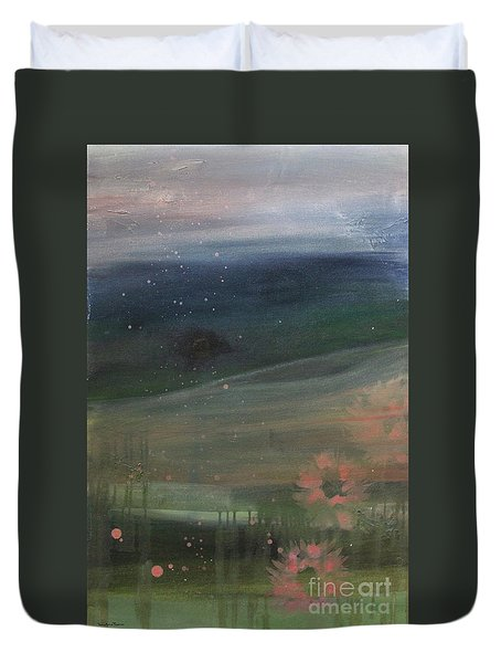 Duvet Cover featuring the painting Faded Days Gone By by Robin Maria Pedrero