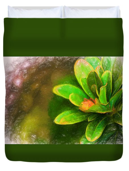 Faded Flora Duvet Cover by Terry Cork