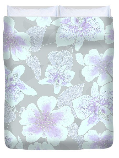 Faded Gray Spotted Orchids Duvet Cover