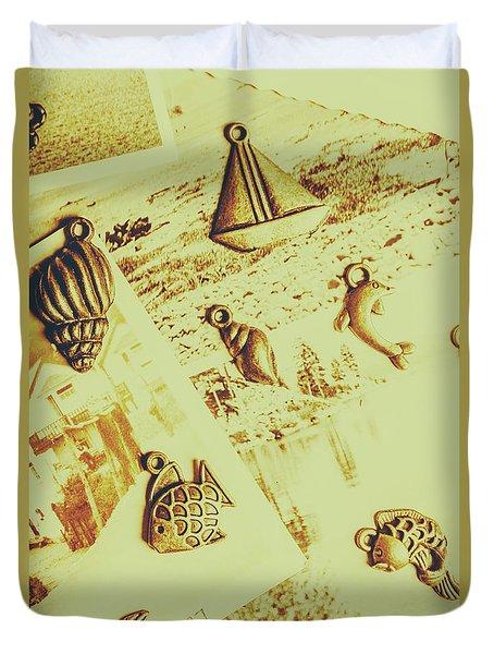 Faded Seaside Scrapbook Duvet Cover