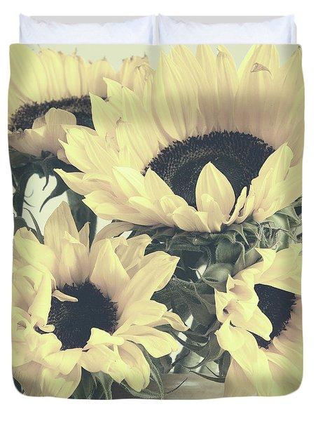 Faded Sunflowers Duvet Cover
