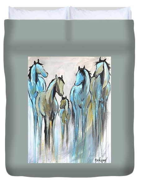 Duvet Cover featuring the painting Fading 2 by Cher Devereaux