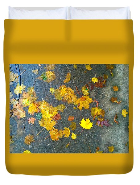 Fading Leaves Duvet Cover by Suzanne Lorenz