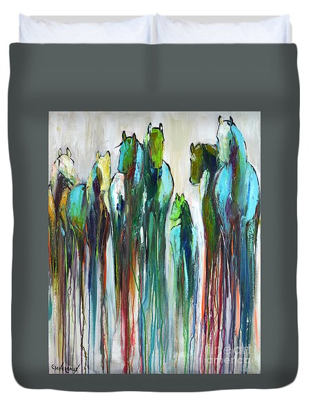Duvet Cover featuring the painting Fading Souls by Cher Devereaux