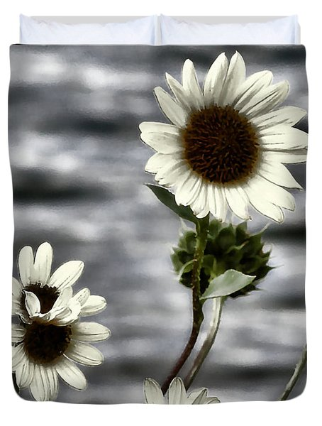 Duvet Cover featuring the photograph Fading Sunflowers by Susan Kinney