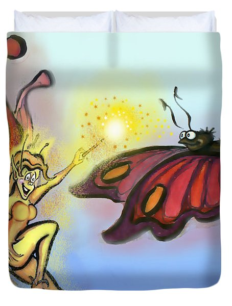 Faerie N Butterfly Duvet Cover by Kevin Middleton