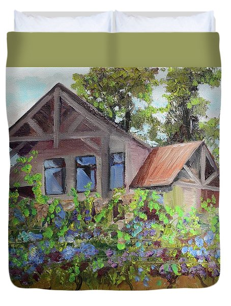 Duvet Cover featuring the painting Fainting Goat Vineyard Through The Vines by Jan Dappen