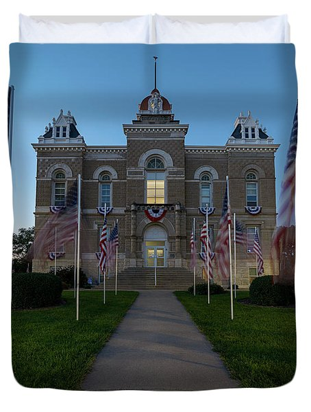 Fairbury Nebraska Avenue Of Flags - September 11 2016 Duvet Cover