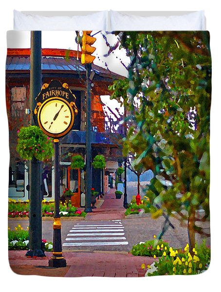 Fairhope Ave With Clock Down Section Street Duvet Cover by Michael Thomas