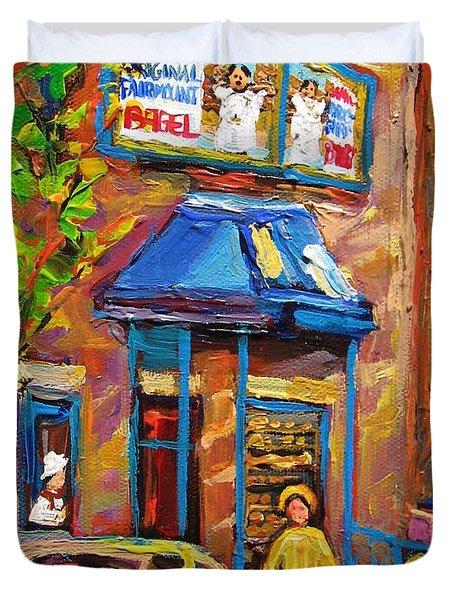 Fairmount Bagel Fairmount Street Montreal Duvet Cover by Carole Spandau