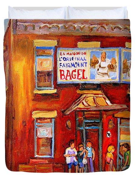 Fairmount Bagel Montreal Street Scene Painting Duvet Cover by Carole Spandau