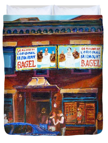 Duvet Cover featuring the painting Fairmount Bagel With Blue Car  by Carole Spandau