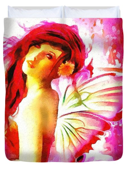 Fairy Angel In The Mix In Thick Paint Duvet Cover