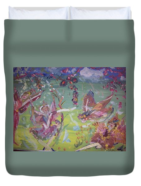 Duvet Cover featuring the painting Fairy Ballet by Judith Desrosiers