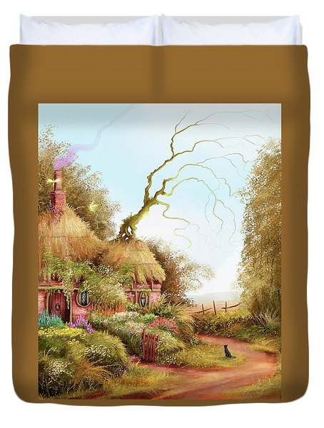 Fairy Chase Cottage Duvet Cover