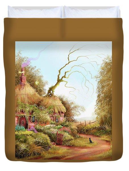 Fairy Chase Cottage Duvet Cover
